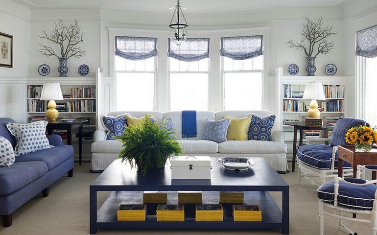 دکوراسیون منزل با ترکیب رنگ آبی و زرد